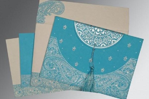 Blue Wedding Invitation- A2zWeddingCards
