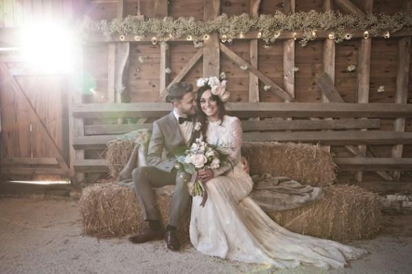 Dusky Pink Fairytale Wedding In a barn