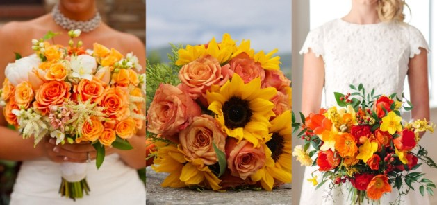 Orange and Yellow Flower Bridal Bouquets