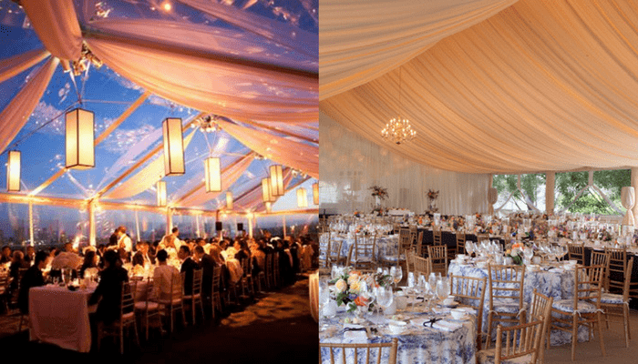 decorating a wedding tent reveal your wedding theme by customized wedding tent decor 3358