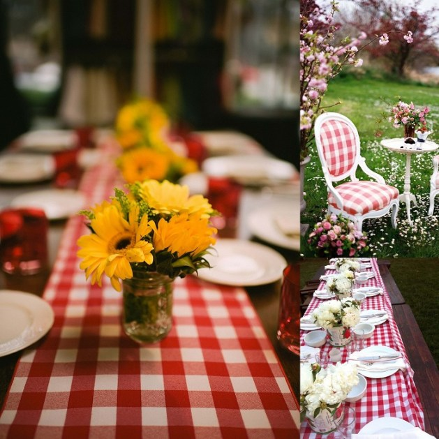 Table Cloth or chair decoration In Gingham style- A2zWeddingCards