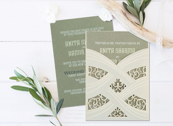 Breathtaking gray and ivory - AD-1590- A2zWeddingCards