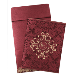 BURGUNDY SHIMMERY SCREEN PRINTED WEDDING CARD : AD-8244H-A2zWeddingCards