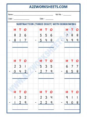A2zworksheets Worksheet Of Subtraction Worksheet