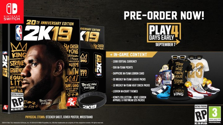 NBA 2K will feature LeBron James on the cover of the NBA 2K19 20th Anniversary Edition.