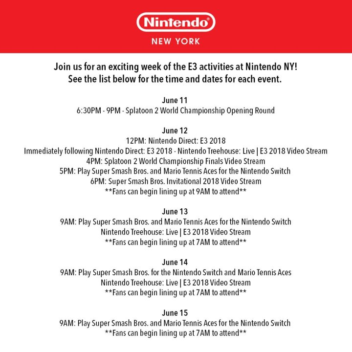 Nintendo NY Store E3 Activities Infographic