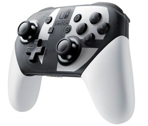 Nintendo Switch Pro Controller adorned with the Super Smash Bros. Ultimate logo