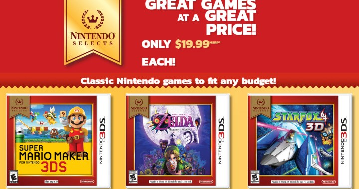 Super Mario Maker for Nintendo 3DS, The Legend of Zelda: Majora's Mask 3D and Star Fox 64 3D – are joining the Nintendo Selects library