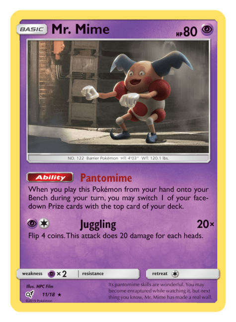 Pokémon Trading Card (TCG) game featuring Mr. Mime