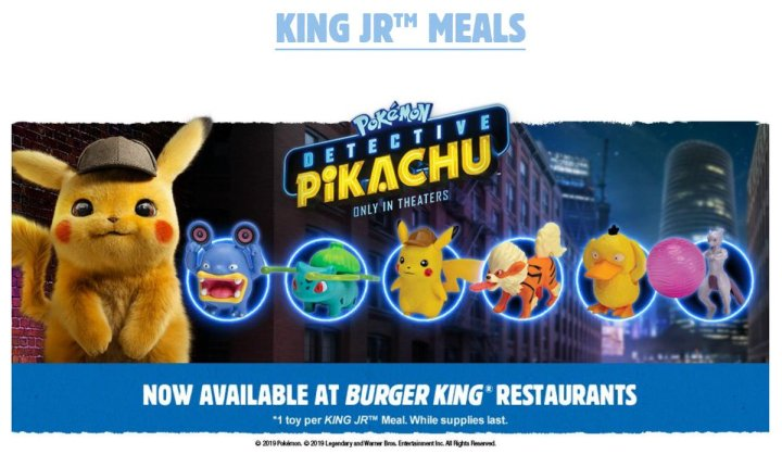 Burger King is offering six different Pokemon toys based on Detective Pikachu for a limited time.