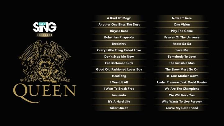 tracklist forLet's Sing presents Queen.