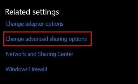Under Related settings select change advanced sharing options - كيفية تغيير نوع NAT على جهاز الكمبيوتر