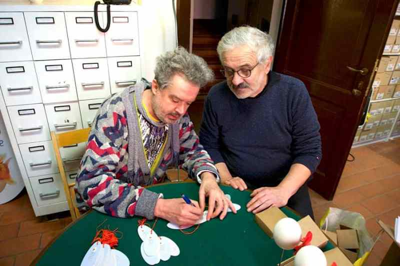 massimo simonini & massimo golfieri EXPLORING the sculpture of AngelicA Centro di Ricerca Musicale (photo Elisabetta Beddini)