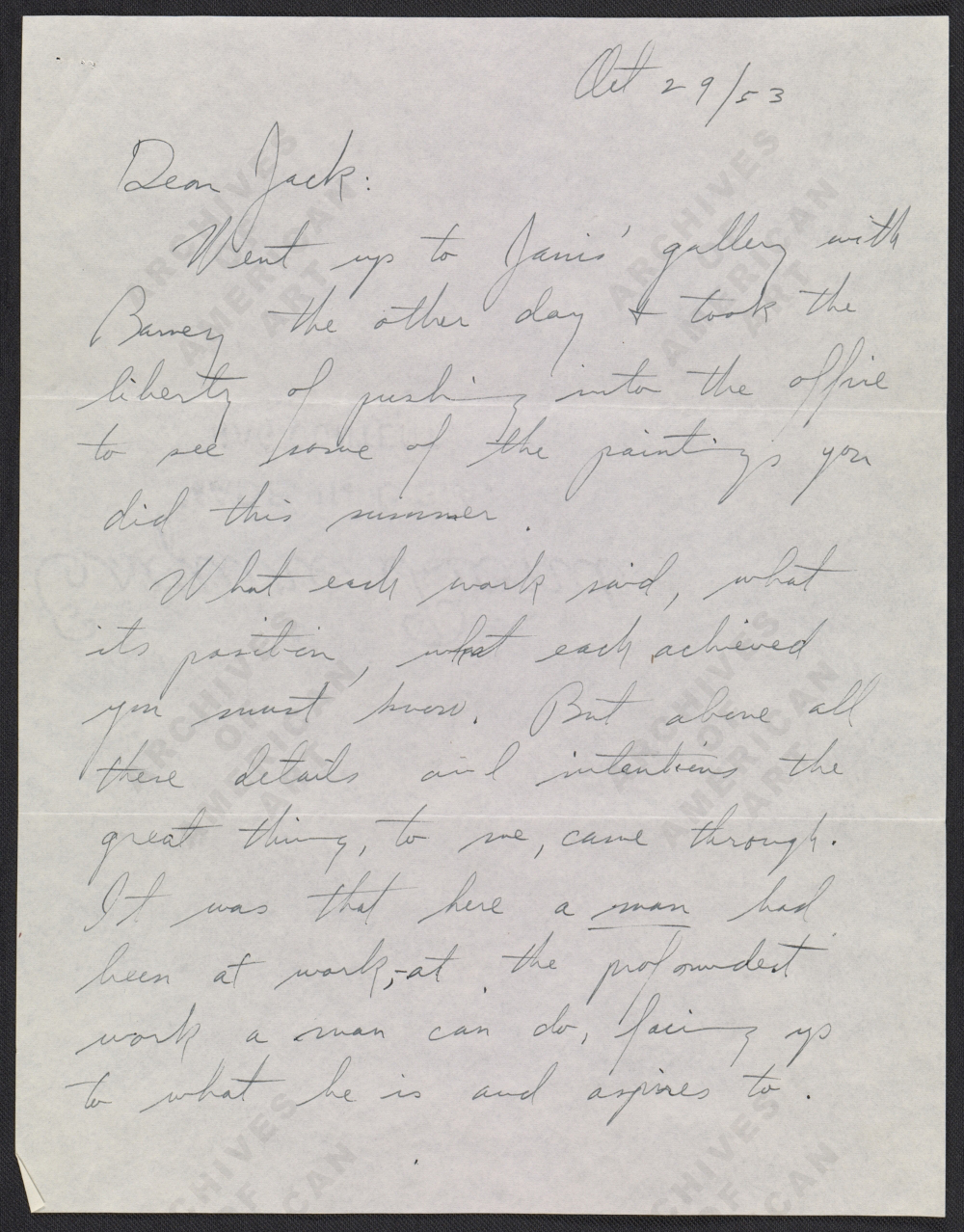 Clyfford Still letter to Jackson Pollock page 1