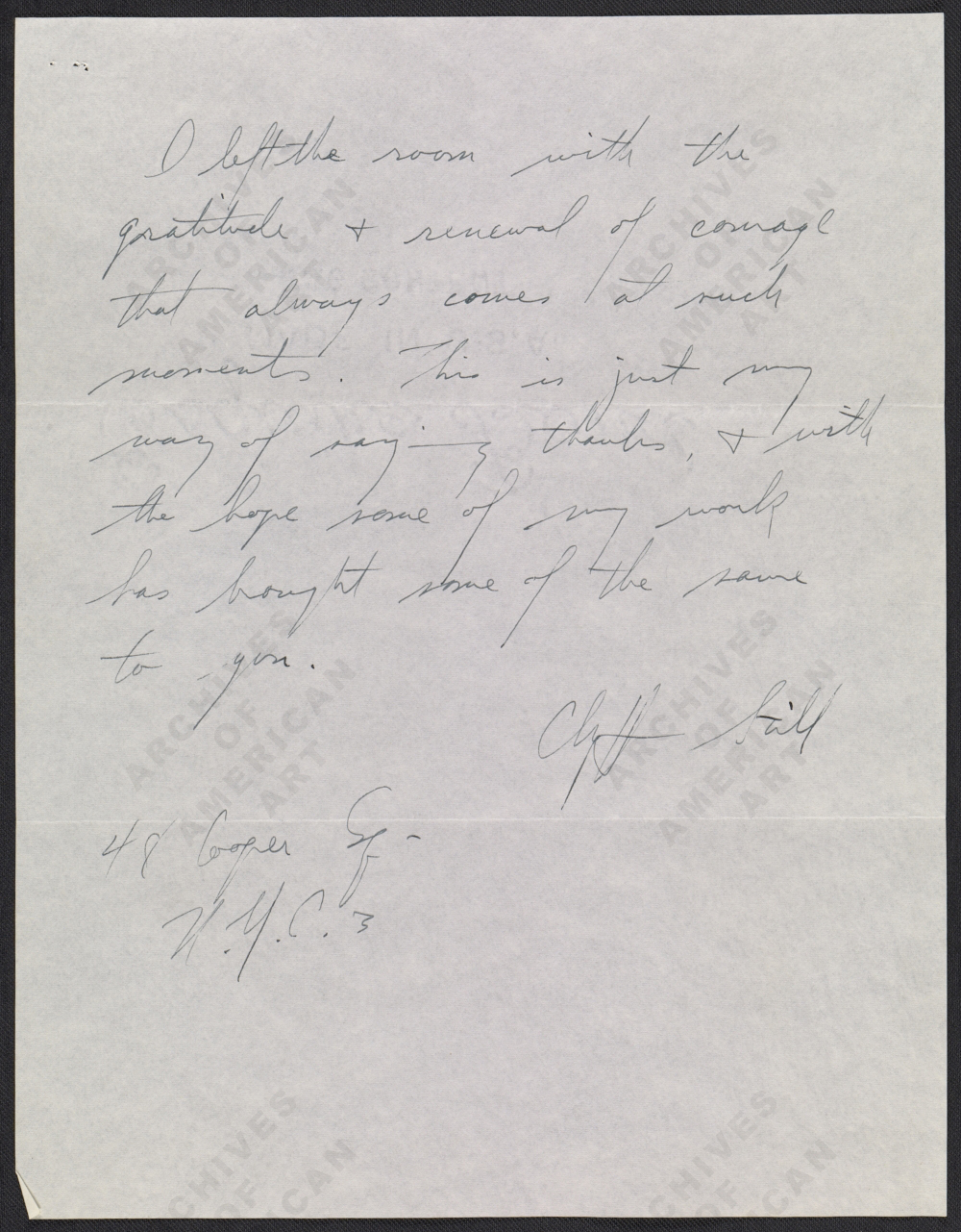 Letter from Clyfford Still to Jackson Pollock, page 2