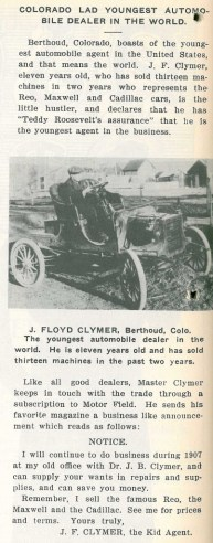 Clymer Motor Field Article