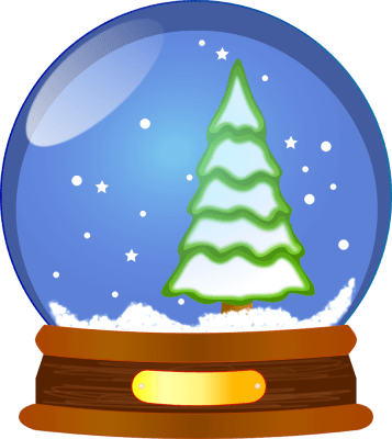 clipart of snow globe with pine tree inside