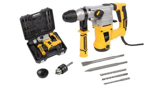 Borehammer 1250 W i kuffert med tilbehør værktøj