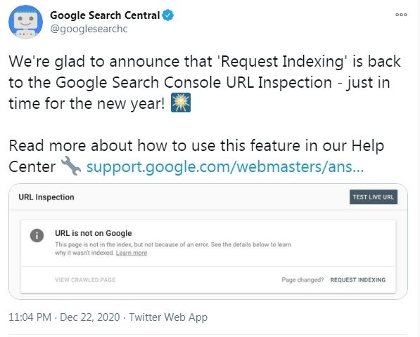 google announcement on twitter
