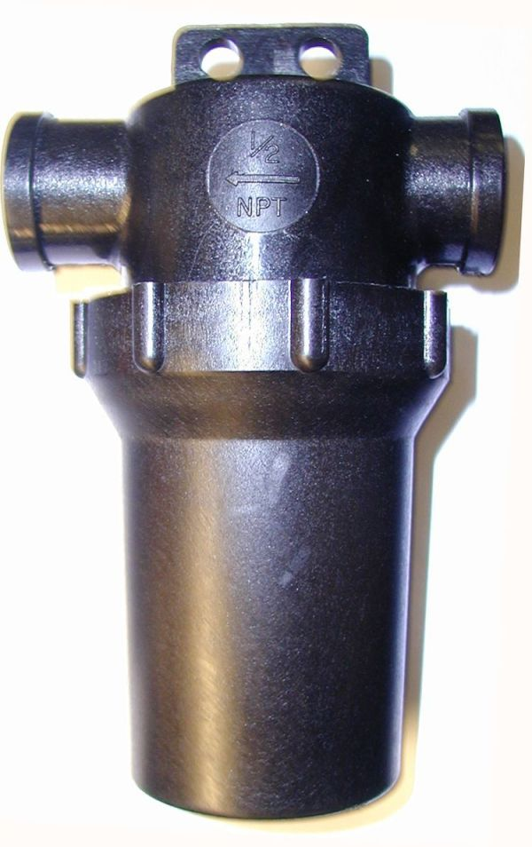 """1/2"""" F x F Inline Filter - black with hanger tab - 50 mesh screen"""