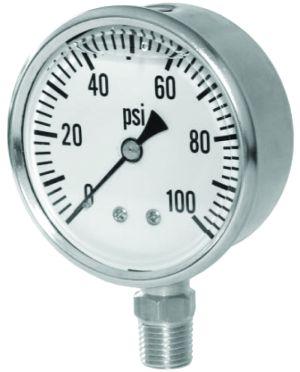 """2.5"""" Glycerin Filled Pressure gauge-bottom mount, 0-100 PSI"""