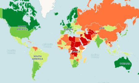 Mapa do Índice de Democracia: em verde-escuro, as democracias plenas. Por Darin Graham.