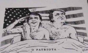 A charge com Bolsonaro e Trump: bolsonaristas se inspiram em muçulmanos radicais. Foto: Reprodução/Facebook