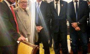 Presidente, ministro e deputado confundiram embaixada com residência. Foto: Jair Bolsonaro/Twitter