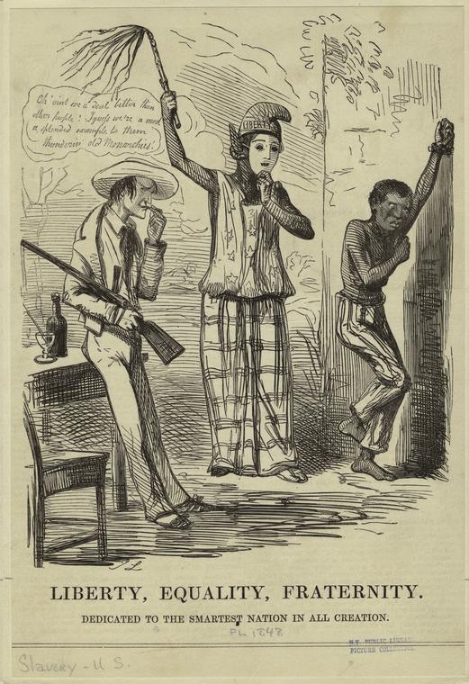 """""""Liberty, Equality, Fraternity: Dedicated to the Smartest Nation In All Creation,"""" 1848. The New York Public Library Digital Collections."""