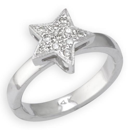 AampA Jewelry Supply 14k White Gold Star Shape Toe Ring W