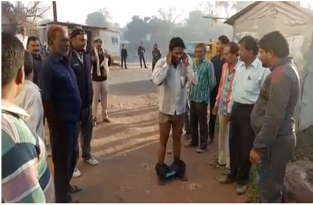 a poor man was punished for doing poop in open in bhopal