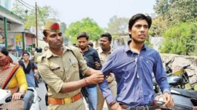 anti romeo squad beats a person when he was looking at her wife