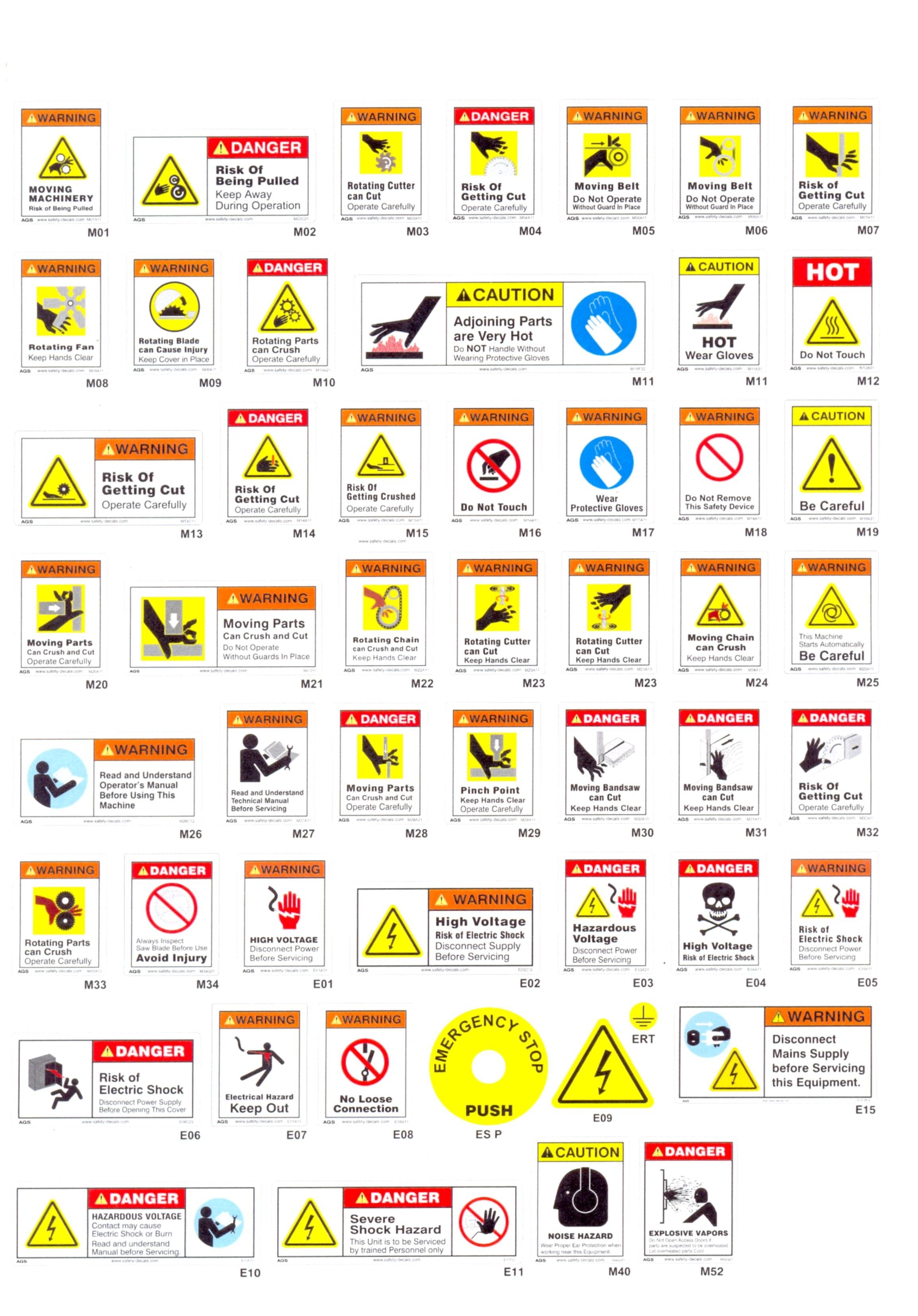 Printable Warning Signs Worksheet