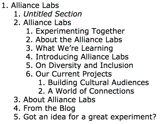 This is the stripped down outline of the headers from the Alliance Labs Homepage. A good semantic structure makes the page content easier to follow.