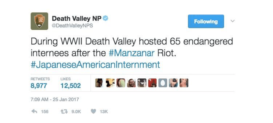 Tweet from Death Valley NP saying: During WWII Death Valley hosted 65 endangered internees after the #Manzanar Riot. #JapaneseAmericanInternment