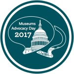 Museums Advocacy Day 2017 logo with the Capitol Building and dialogue boxes.