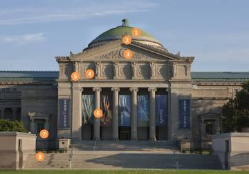 Image of the North facade of the Museum of Science and Industry