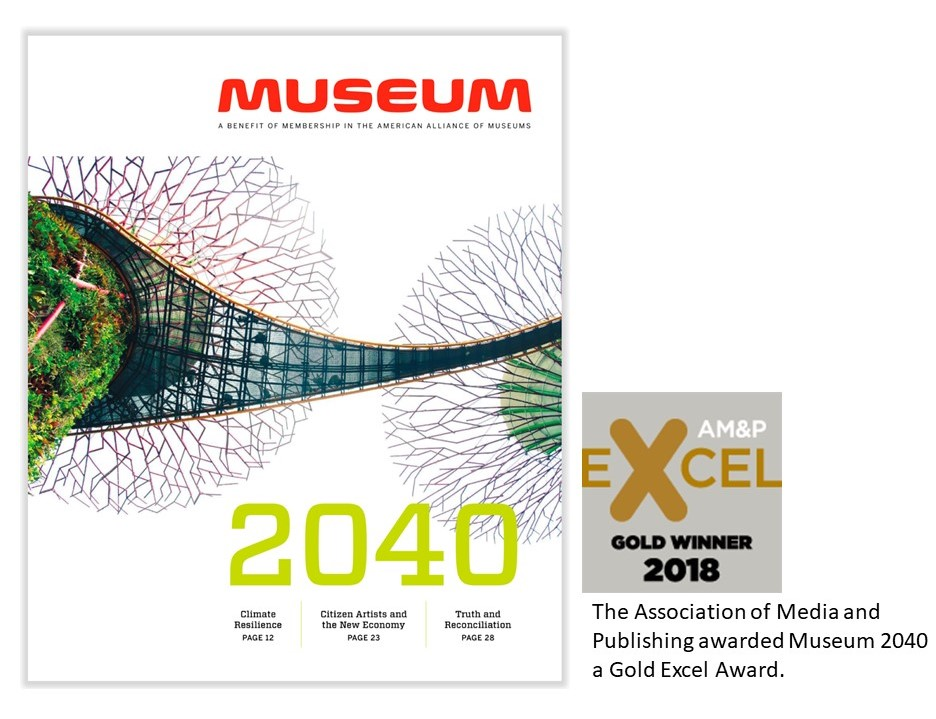 Image of the Museum 2040 cover and the Excel award for 2018.