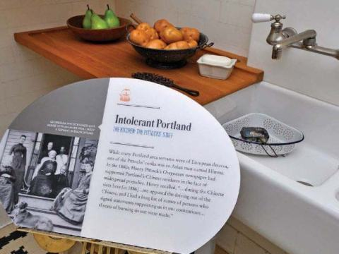 View of the kitchen exhibit at the Pittock Mansion.