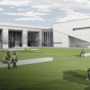 Rendering of a building with several people sitting on long white bench like structures in a quad of grass.
