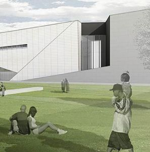 Rendering of a building with several people sitting on the grass.