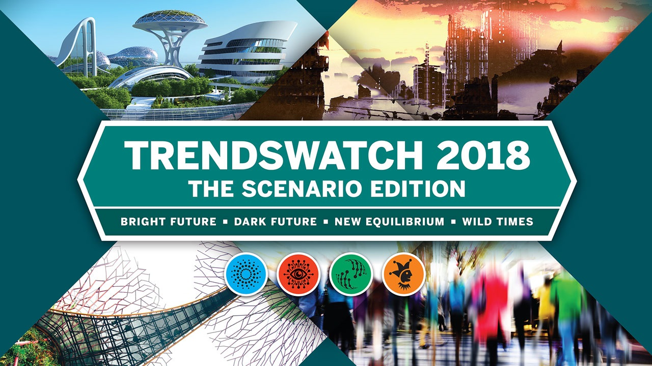 Various images of cityscapes with TrendsWatch 2018 in the center.
