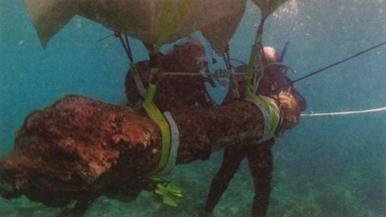 Two divers hold onto an encrusted object tied with line to a floating piece pulling it from the depths.