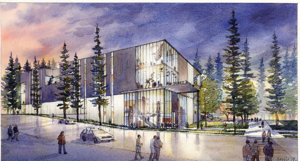 Conceptual drawing of the new Burke Museum shown from the outside.