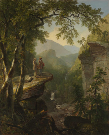 An oil painting of two men on a cliff overlooking a tributary in a mountainous and forested landscape.