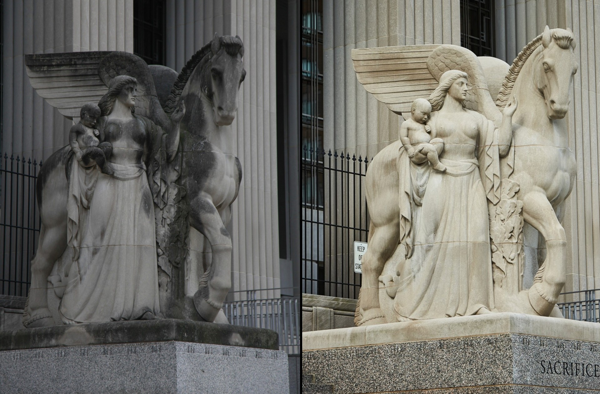 A side-by-side view of the same statuary sculpture before and after a public-private partnership allowed for a cleaning. On the left, the statue is darkened with spots of grime, while on the right it is cleaned and dazzling.