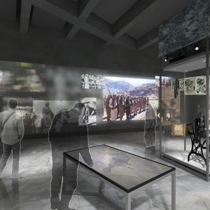 A rendering shows hypothetical visitors inside a gallery displaying physical artifacts like a military uniform and projected images plus an interactive display table.