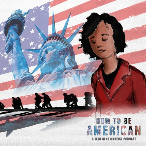 Cover art for How To Be An American with an illustration of a woman against the backdrop of the Statue of Liberty and an American flag.