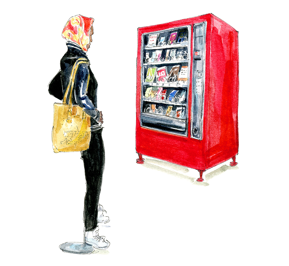 In the illustration, a woman looks at an artwork that resembles a red vending machine.