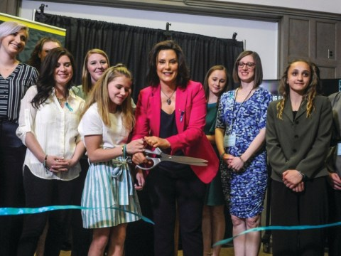 Top: Michigan Governor Gretchen Whitmer opens the exhibition with sister survivors on April 16, 2019. Bottom: A teal bow and ribbon tribute tied to a tree in honor of a sister survivor.